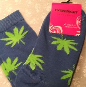 Blue & Green Weed Crew Socks